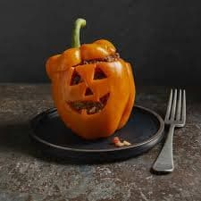 Jack-O-Lantern Stuffed Pepper