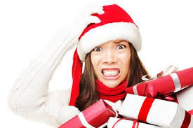 Stressed woman in Santa Hat